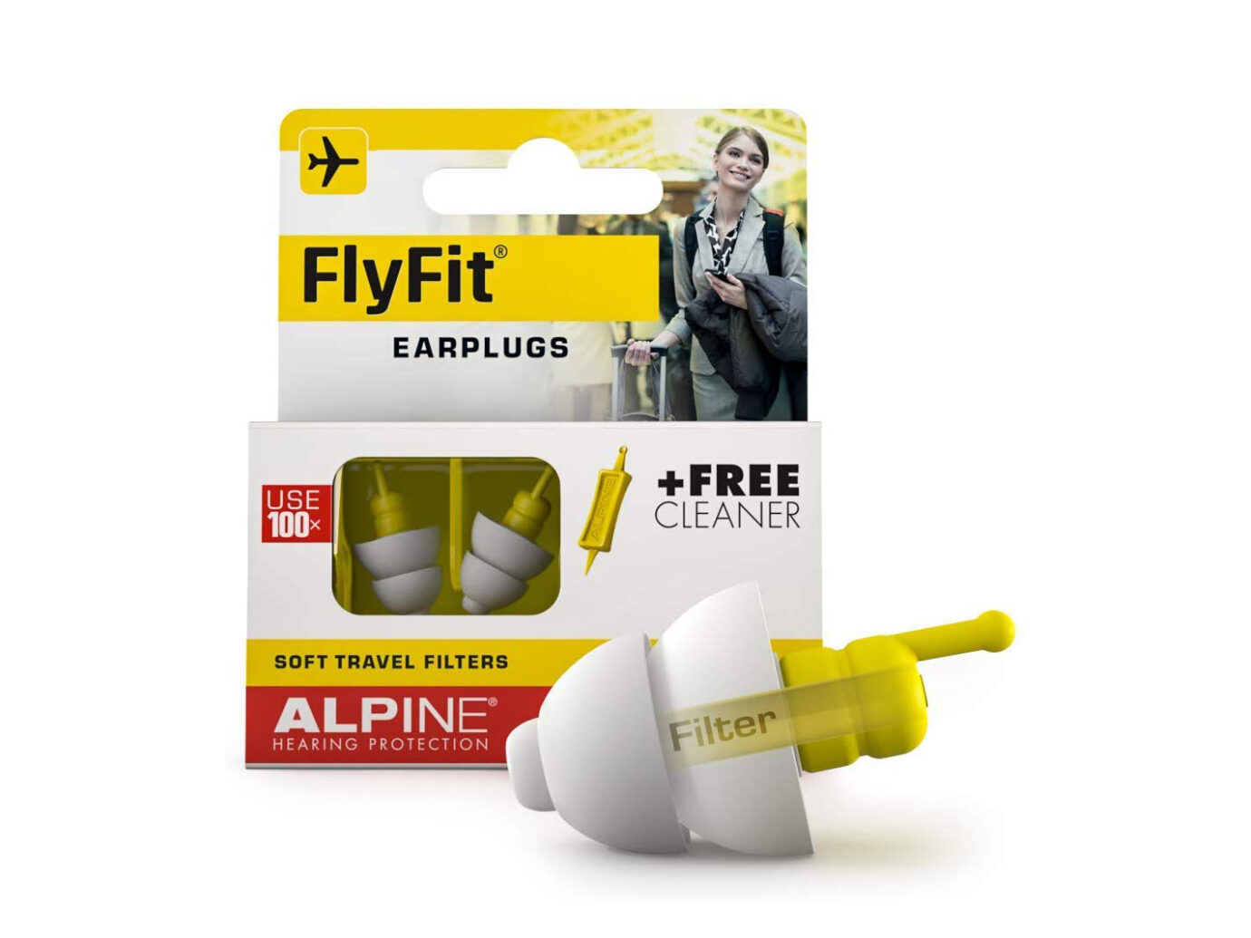 Alpine Hearing Protection FlyFit Airplane Ear Plugs