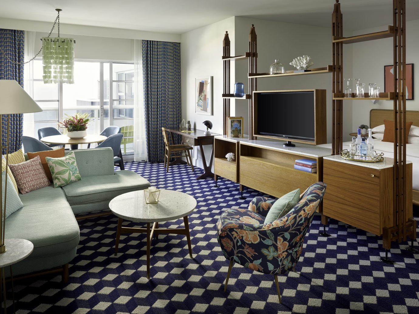 Living room at Confidante Miami Beach