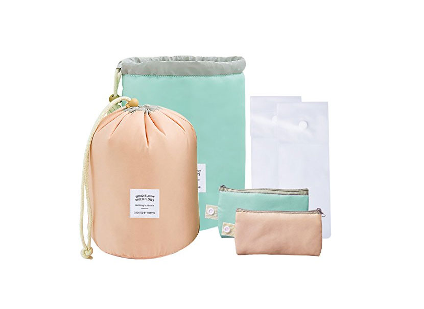 AFSTEE Soft Collapsible Barrel Cosmetic Bag