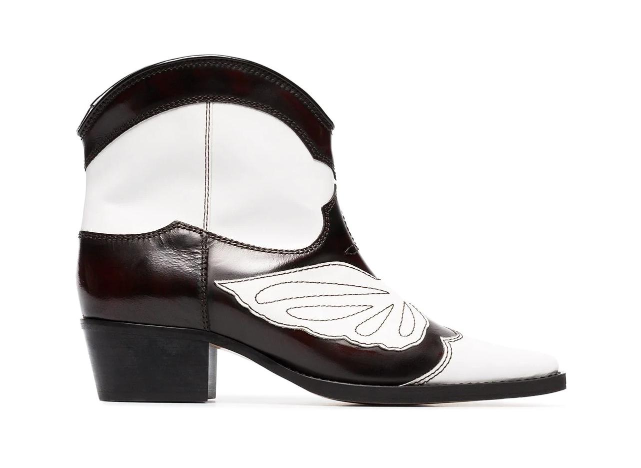 Ganni black and white meg 45 leather cowboy boots