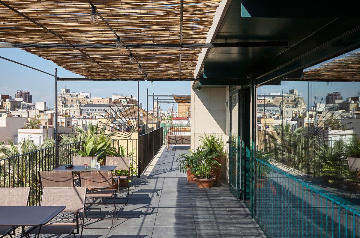 Bar and terrace at Casa Camper Barcelona