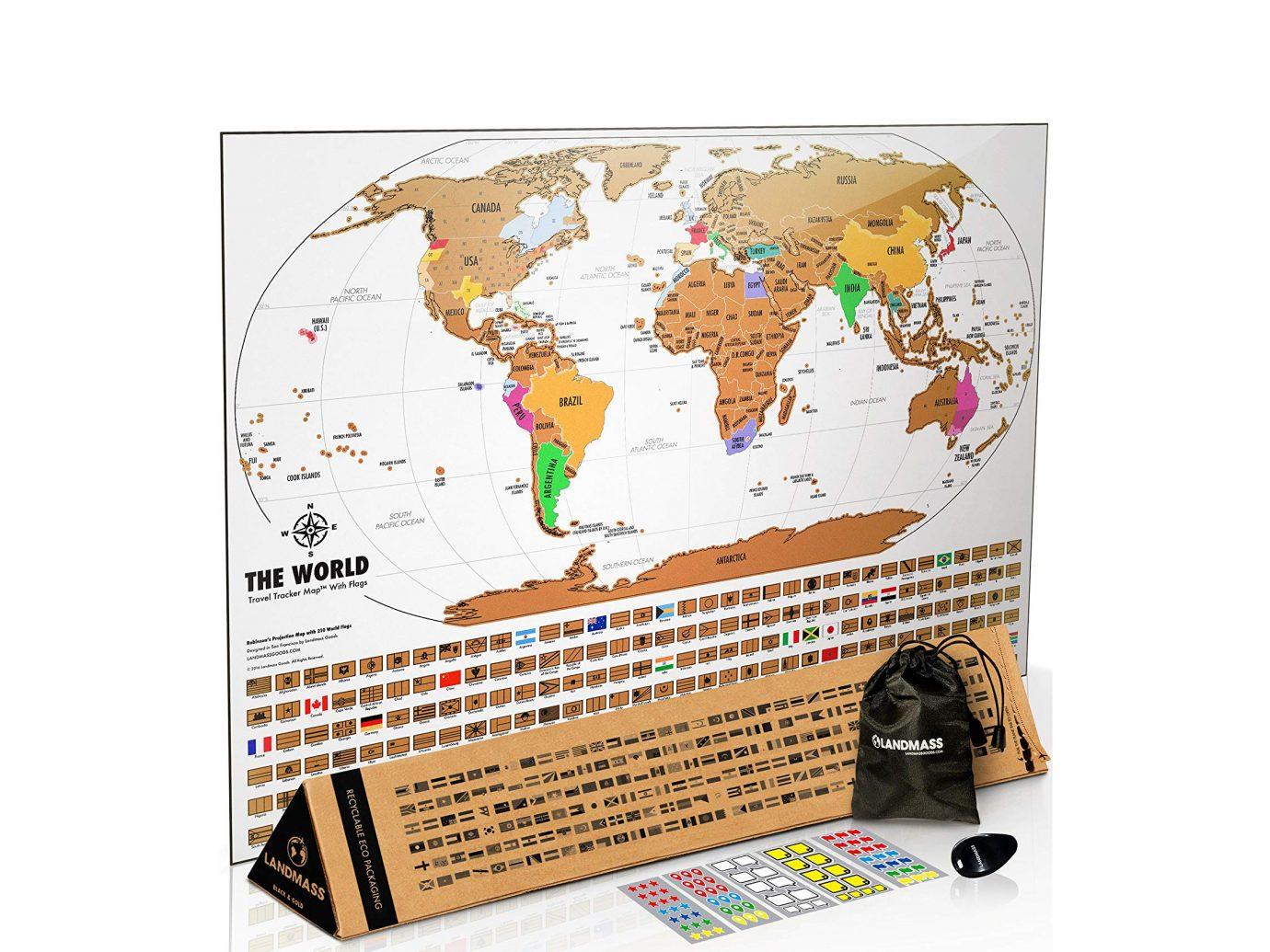 Landmass Scratch Off World Map Poster
