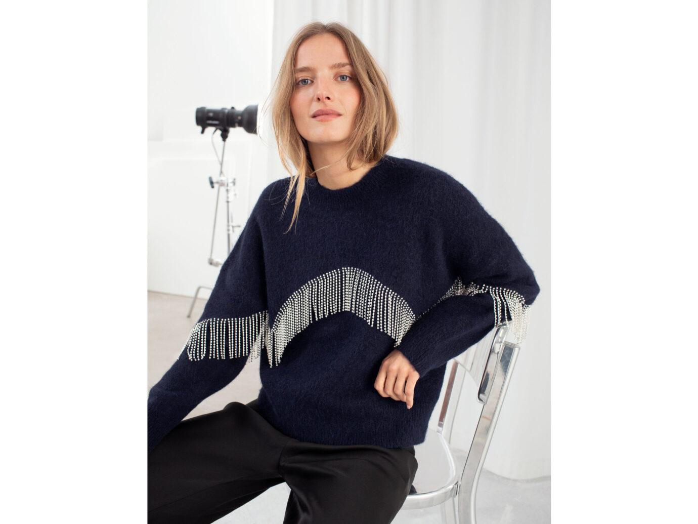 & Other Stories Diamanté Fringe Sweater