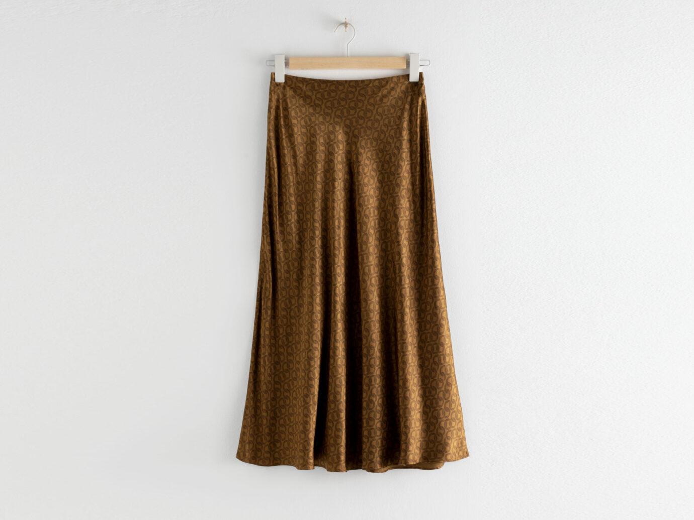 & Other Stories Chain Print Satin Midi Skirt