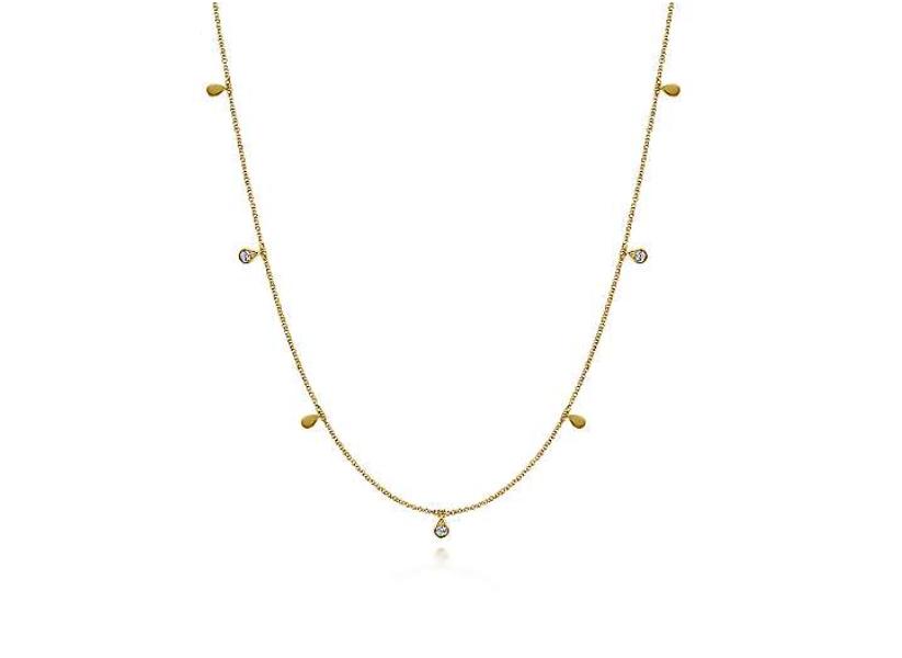 Gabriel & Co 14k Yellow Gold Diamond Station Necklace