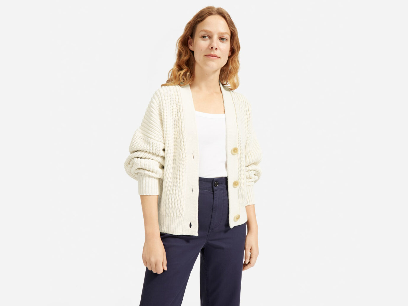 Everlane The Texture Cotton Crop Cardigan