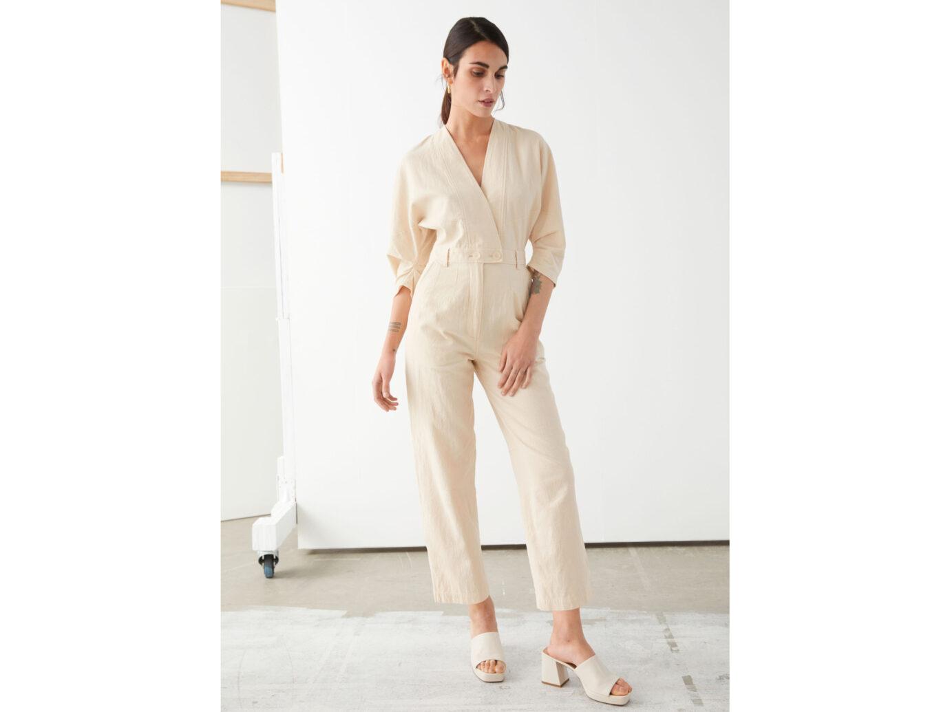 Asymmetrical Linen Blend Jumpsuit