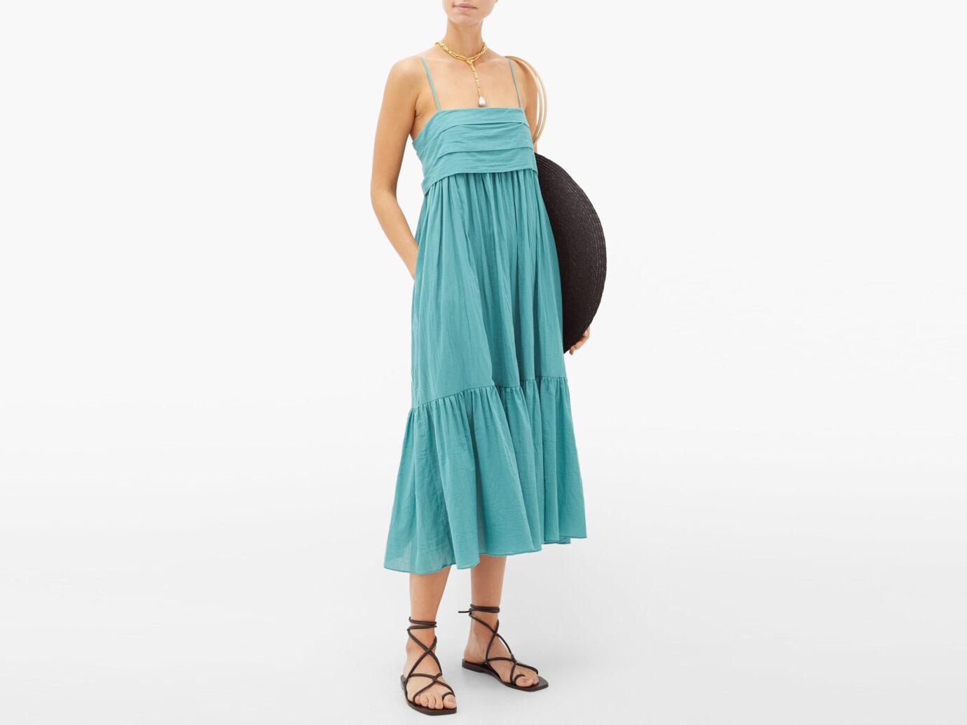Loup Charmant Iliana tie-back organic-cotton midi dress