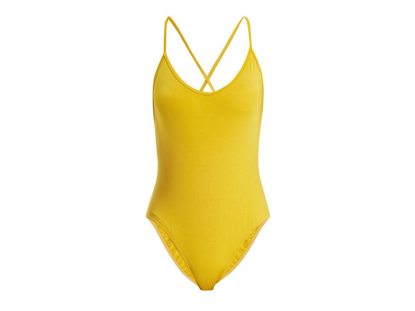 Influencers + Tastemakers Travel Shop Trip Ideas clothing yellow swimwear sportswear neck swimsuit bottom one piece swimsuit