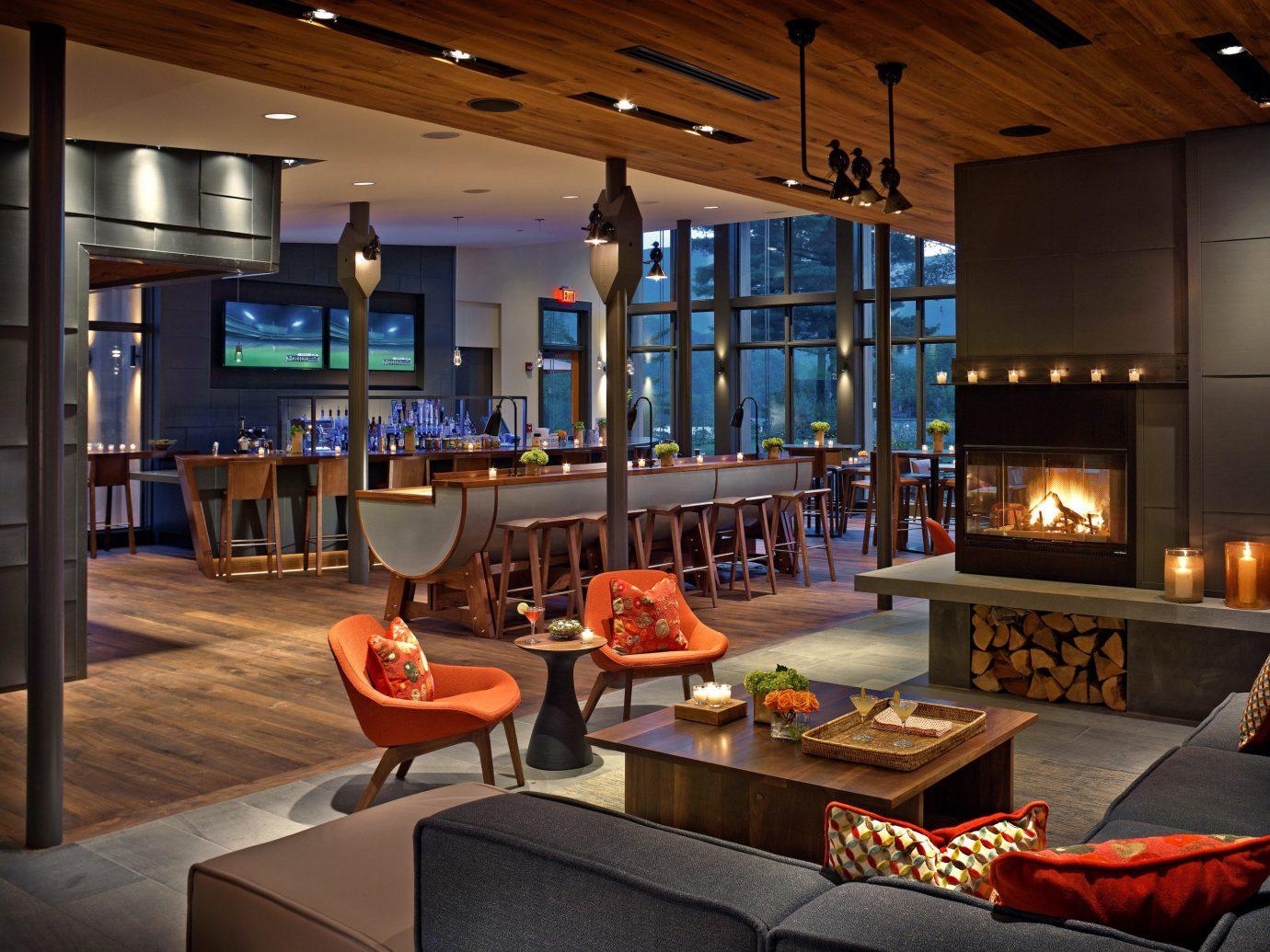 Bar Country Dining Drink Eat Lodge Resort Trip Ideas indoor ceiling room recreation room Lobby living room estate home interior design billiard room Design orange area furniture