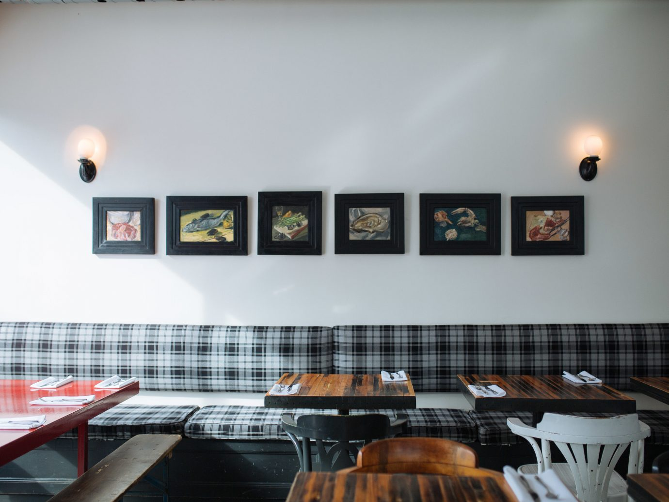 Food + Drink wall table indoor room restaurant interior design Design ceiling window covering decorated several