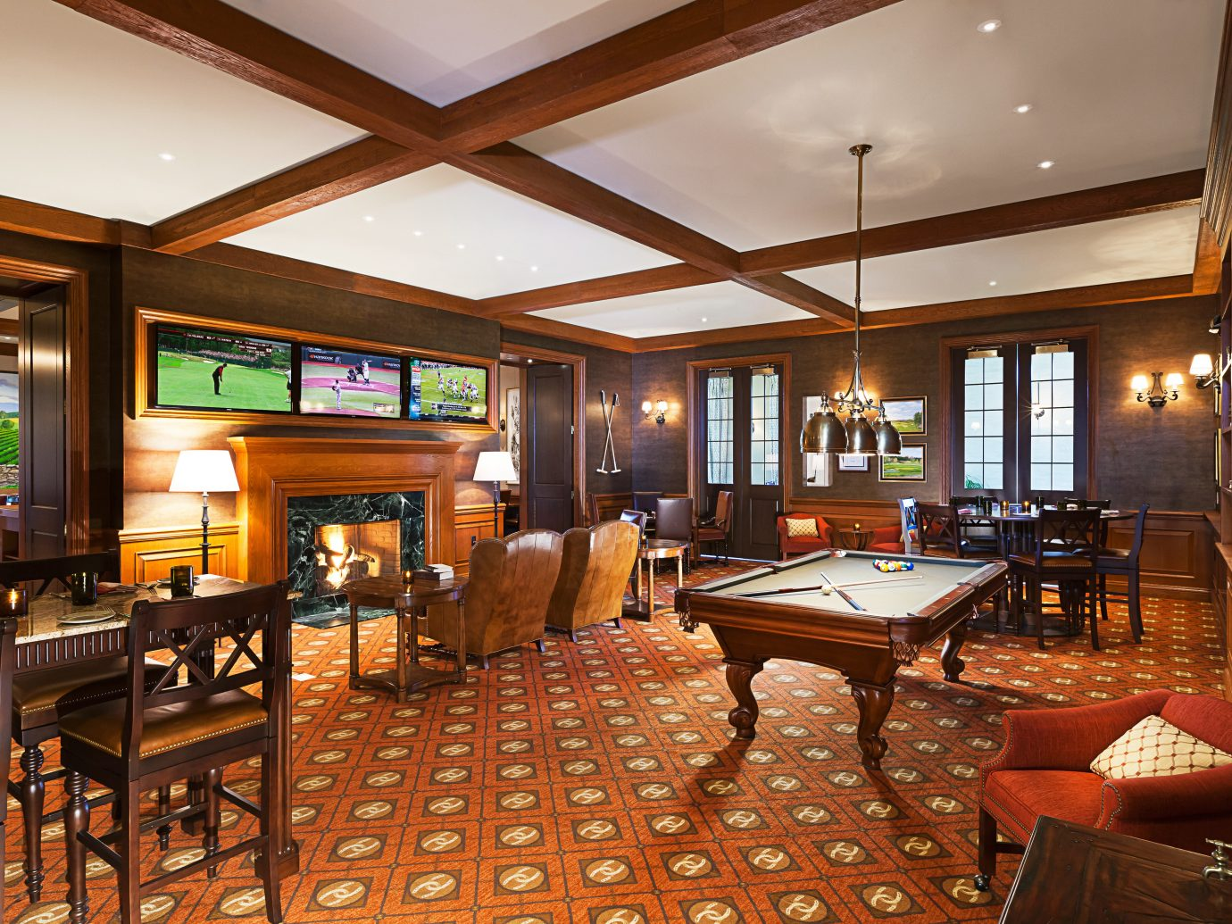 Country Fireplace Hotels Lounge Ranch Resort Romance indoor floor room Living ceiling window property recreation room estate billiard room Lobby furniture real estate interior design restaurant Suite living room area decorated several