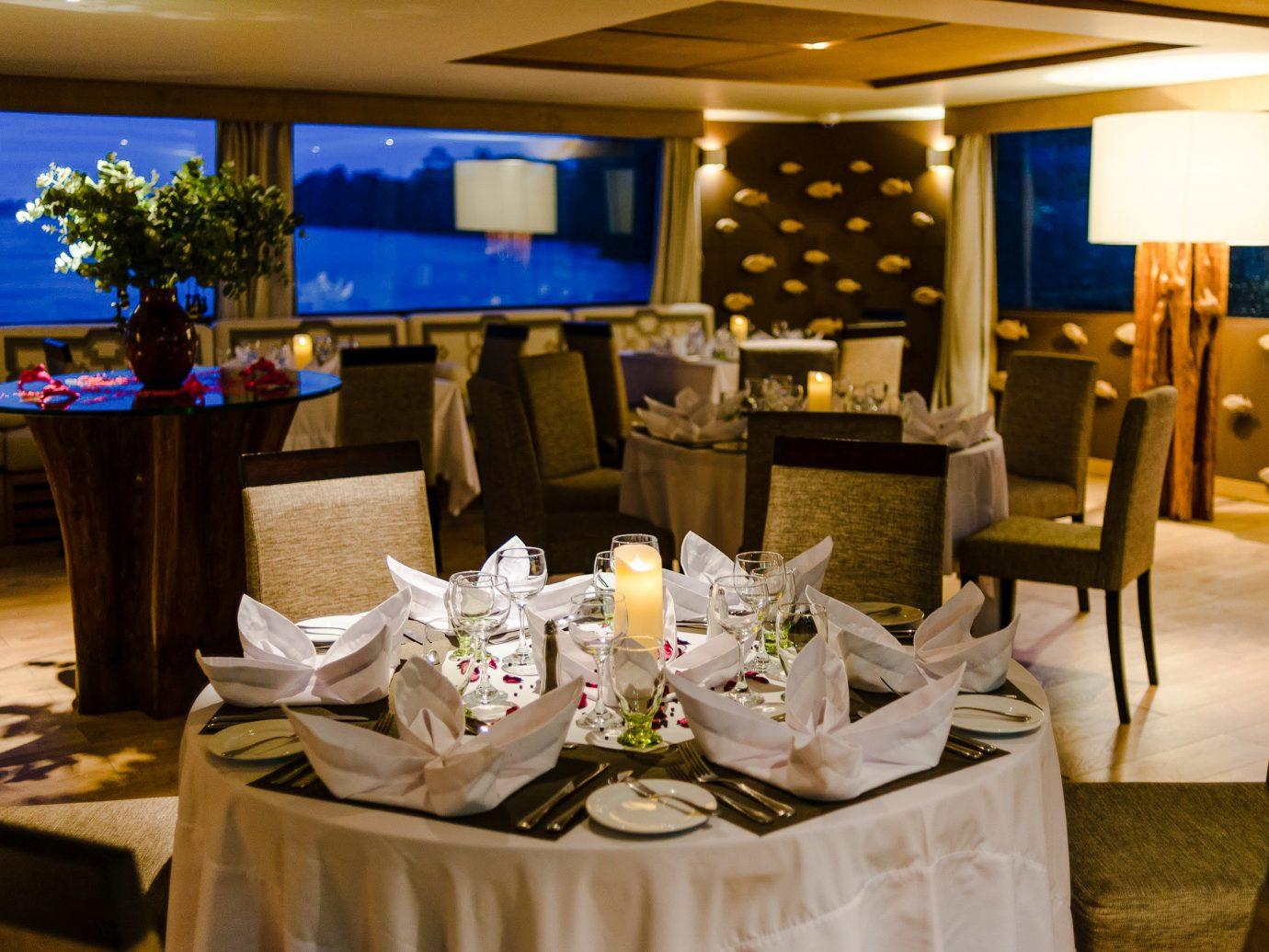 Cruise Travel Luxury Travel Outdoors + Adventure Trip Ideas table indoor function hall restaurant ceiling ceremony banquet interior design furniture