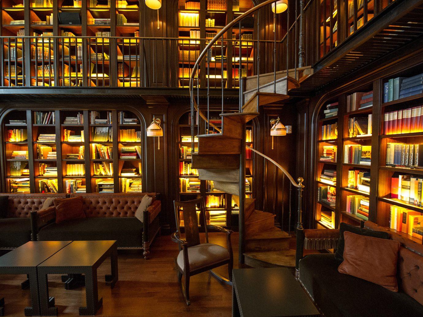 Offbeat library indoor building lighting interior design Design restaurant Bar bookselling room