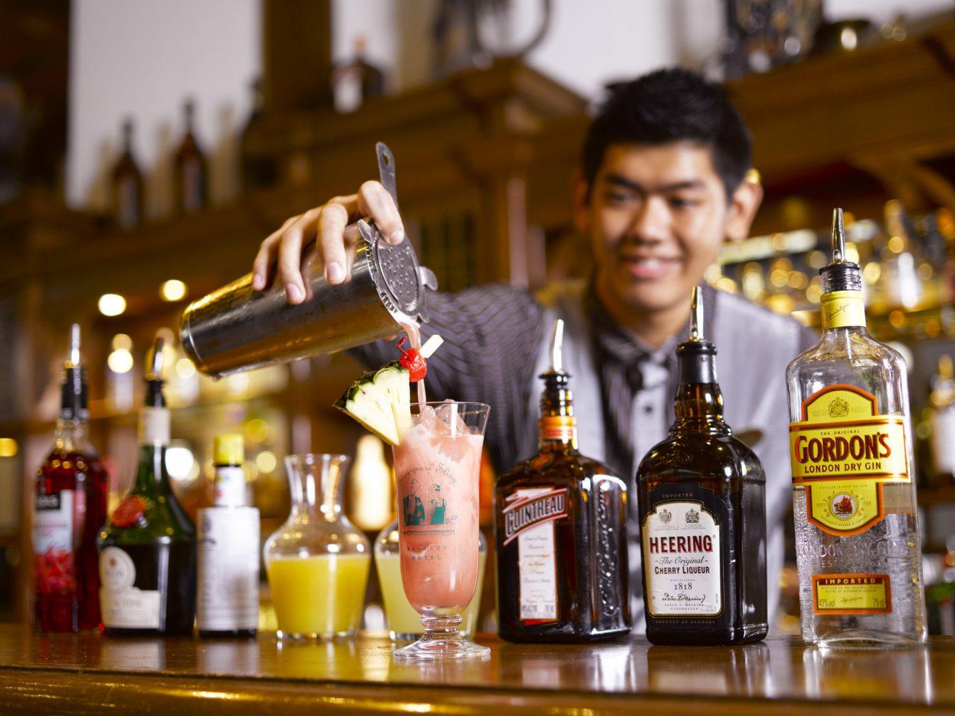 Food + Drink Hotels bottle indoor Drink distilled beverage alcoholic beverage alcohol Bar liqueur sense
