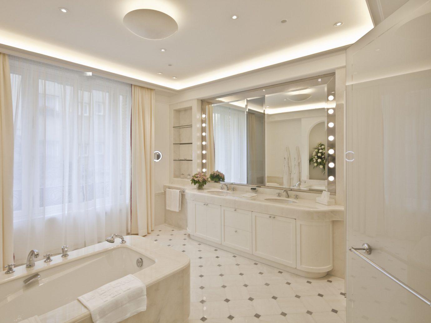 France Hotels Luxury Travel Paris indoor bathroom wall window floor ceiling room sink interior design home estate tub bathtub real estate flooring interior designer plumbing fixture Bath tile