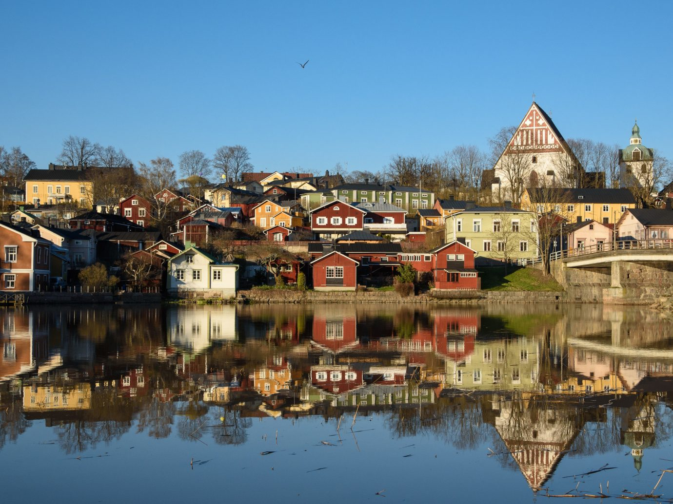 Finland Trip Ideas outdoor building water sky reflection Town waterway City Boat River tree water castle château bank house tourist attraction Village evening watercourse Lake tourism Canal plant tours old several