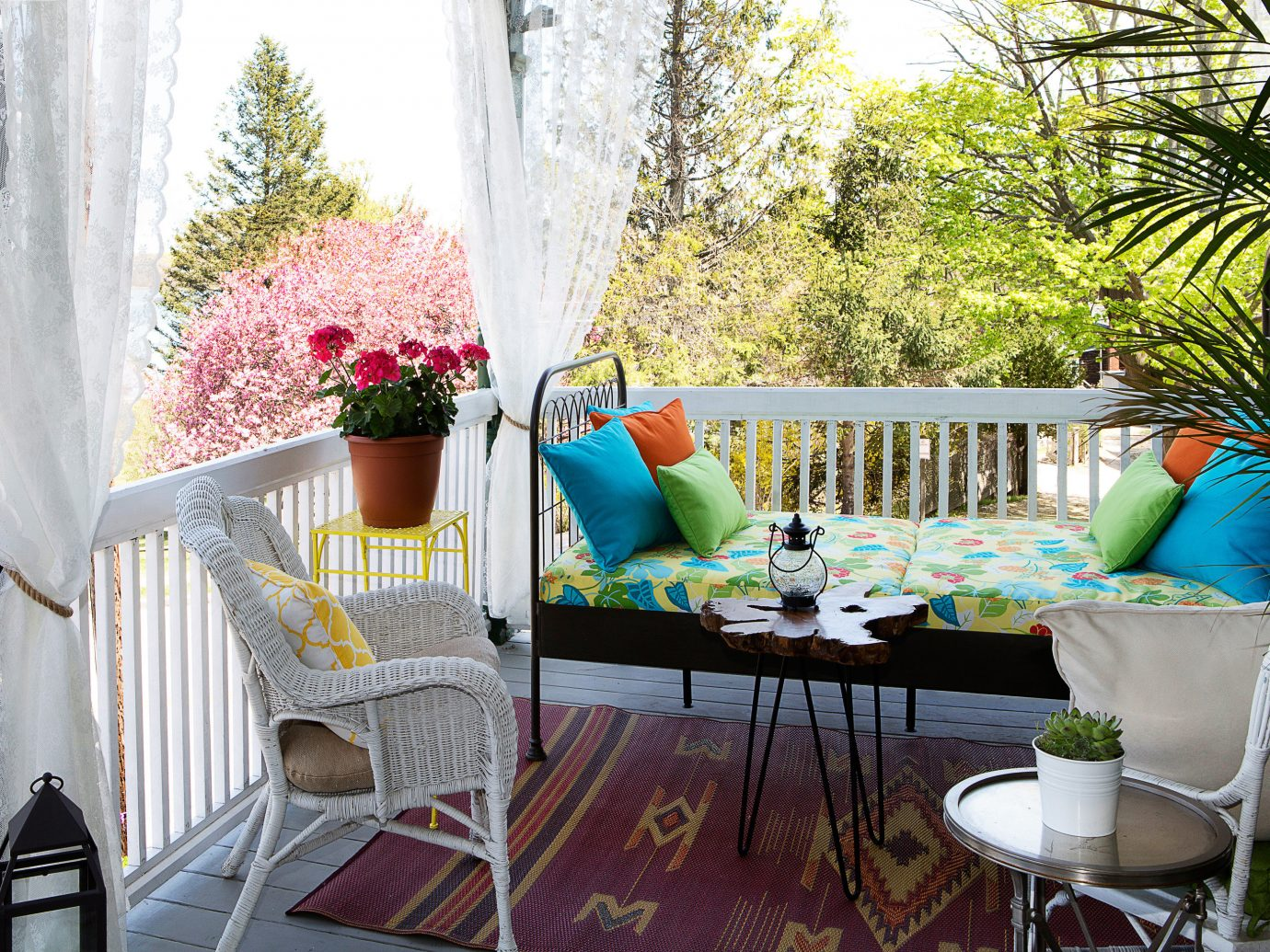 Trip Ideas Weekend Getaways tree room property porch home living room interior design cottage backyard estate Villa real estate outdoor structure Balcony plant decorated furniture