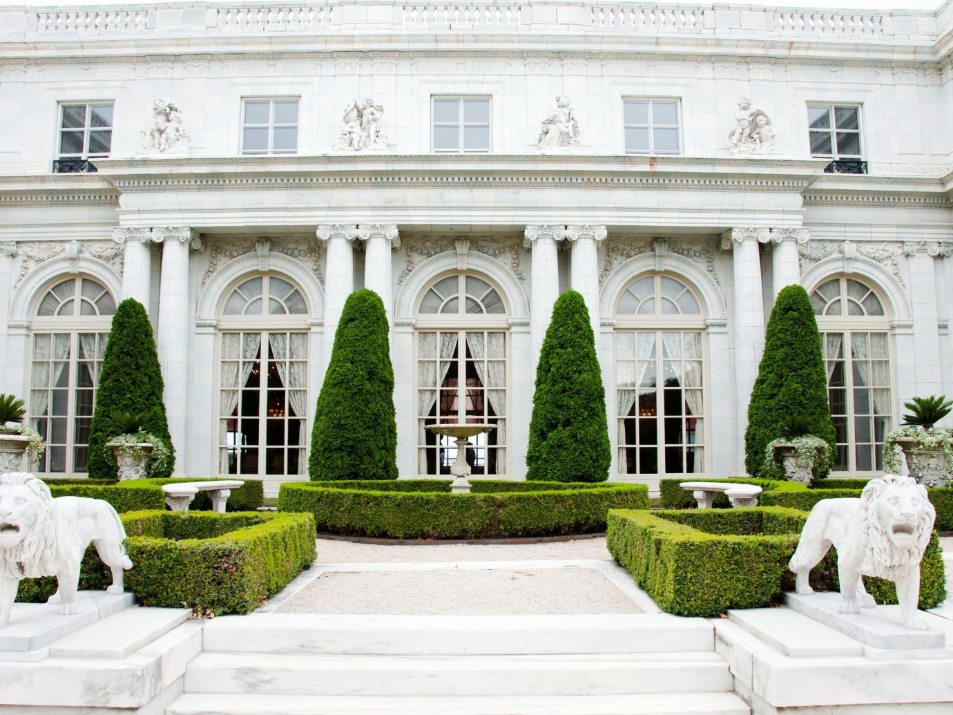 Trip Ideas outdoor building grass palace Architecture estate Courtyard stone mansion aisle white old statue older government building colonnade
