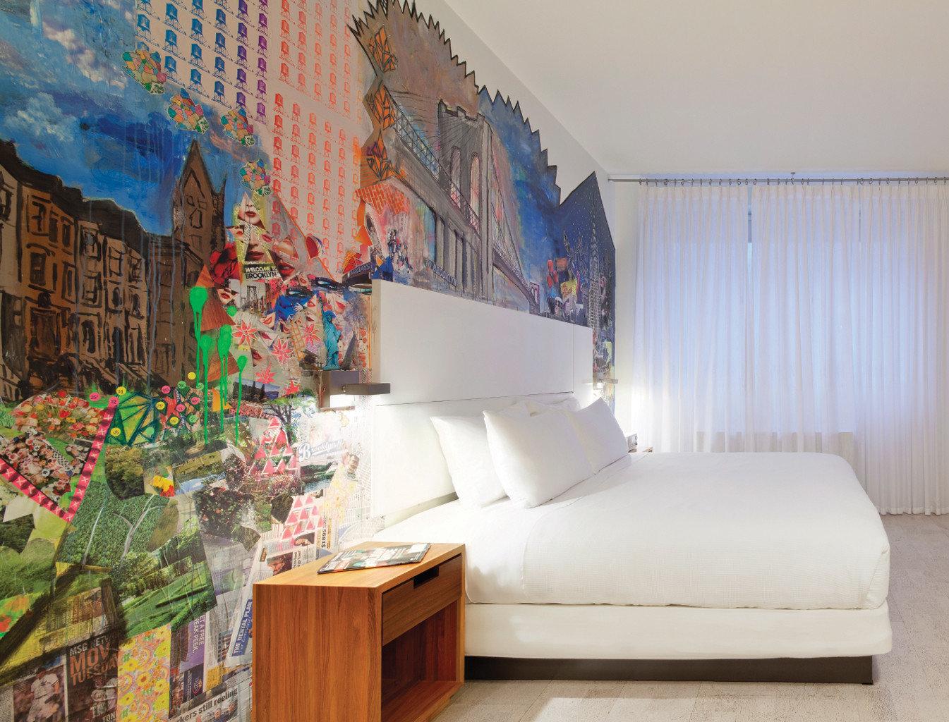 Bedroom Budget City Hotels Modern wall indoor room property mural interior design furniture decorated
