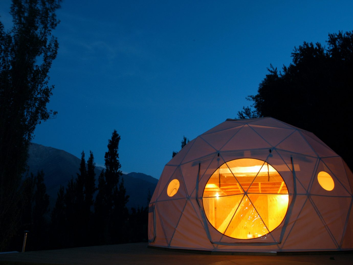 Architecture Boutique Eco Exterior Grounds Hotels Lodge Offbeat Romance Rustic Scenic views sky tree outdoor building night light dome darkness lighting evening sunlight tent
