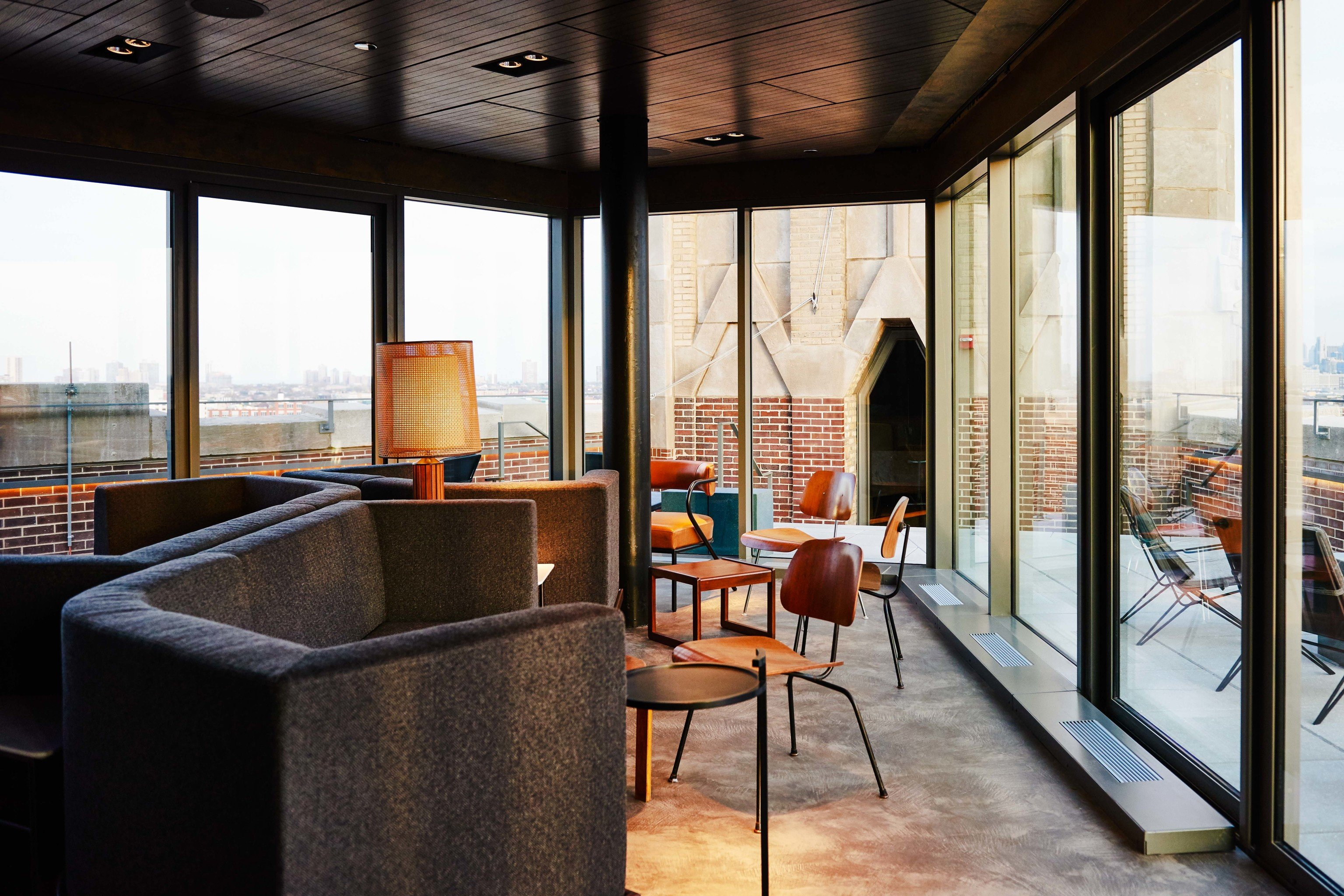 Food + Drink indoor window floor room Architecture interior design real estate loft house apartment daylighting overlooking furniture