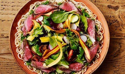 Food + Drink food dish salad produce plant meat vegetable cuisine land plant salt cured meat prosciutto flowering plant fruit fresh meal