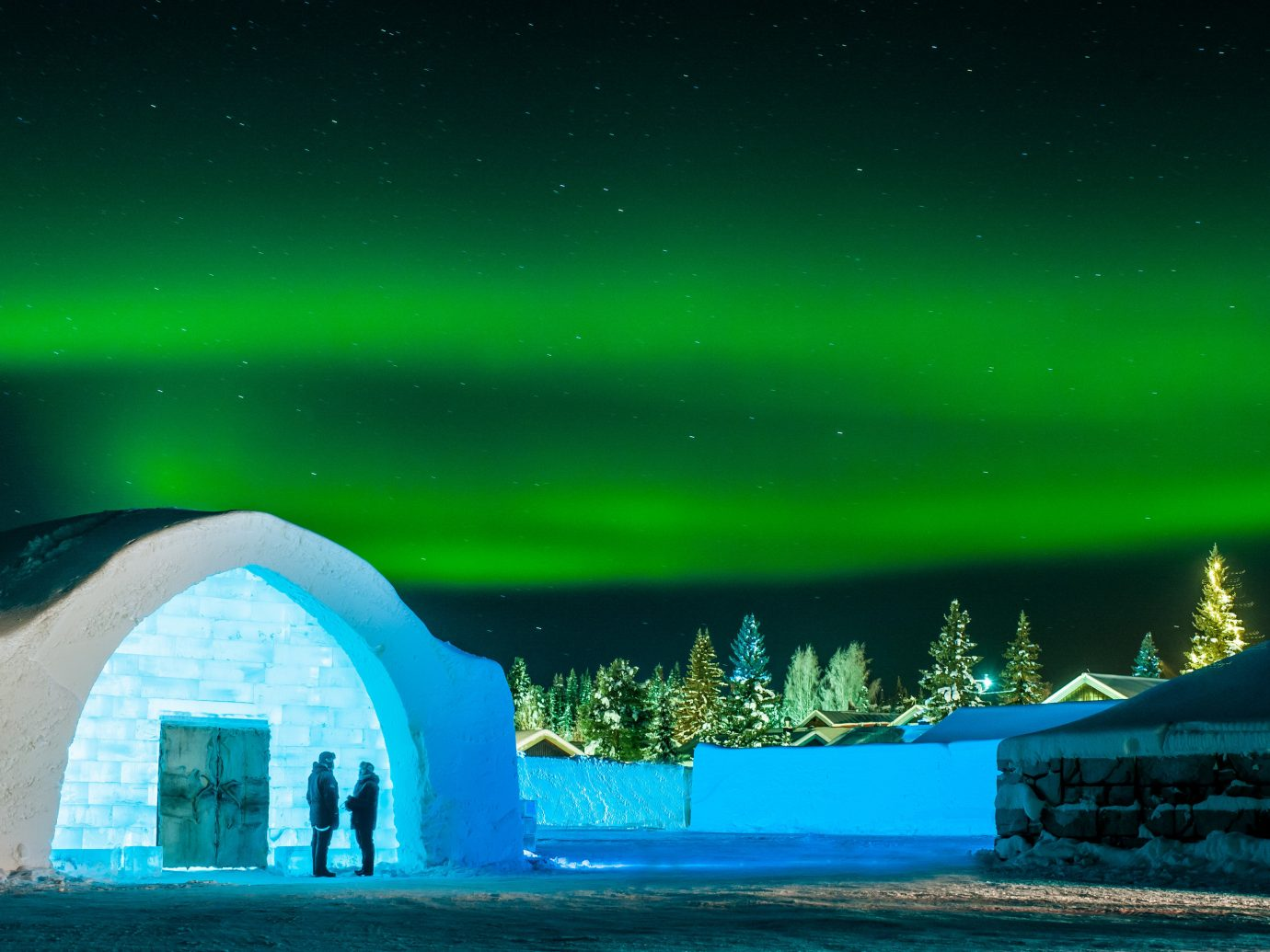 Boutique Hotels Sweden Nature building sky atmosphere aurora arctic phenomenon computer wallpaper Winter