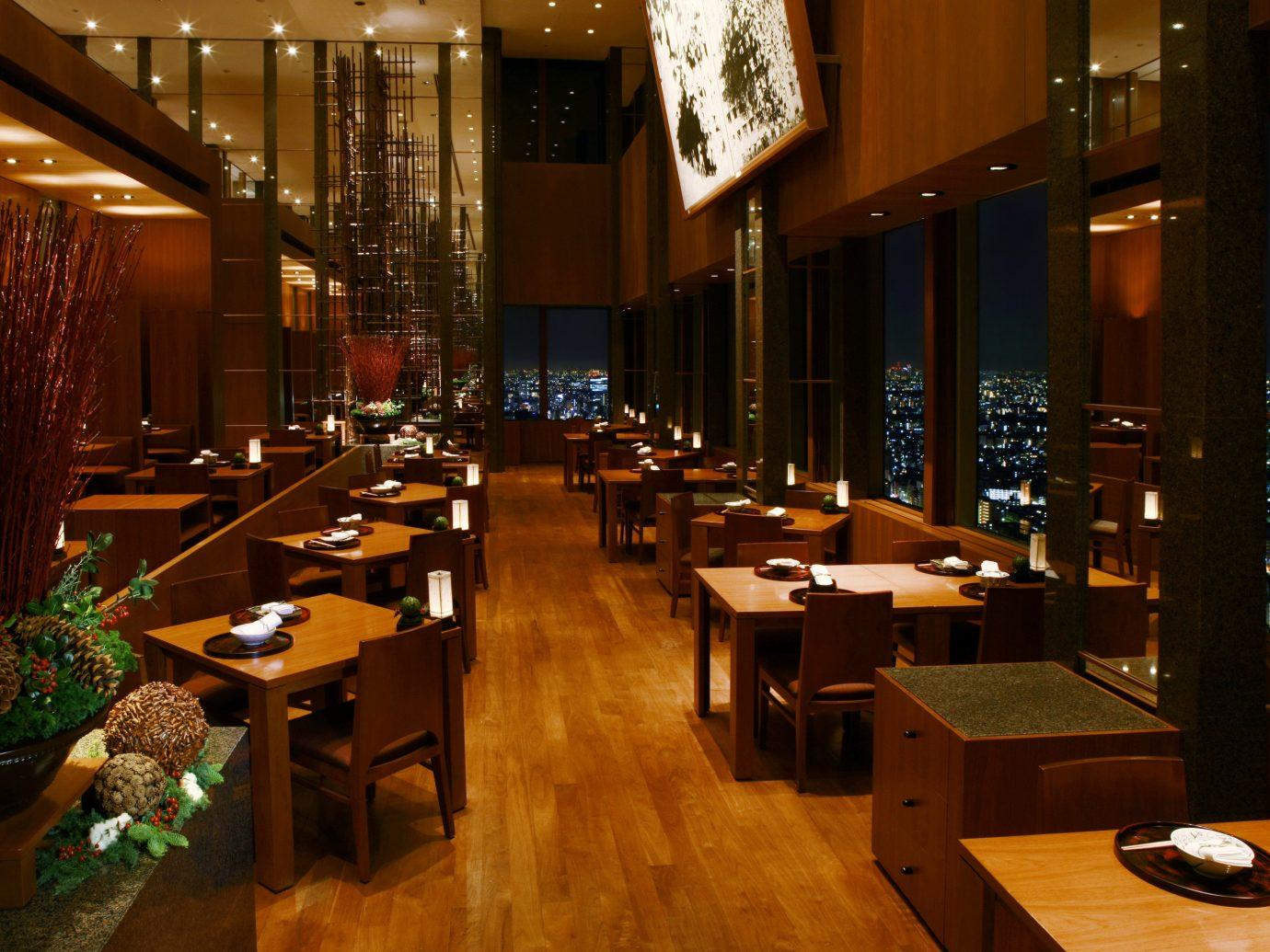 Food + Drink floor indoor room restaurant Lobby meal interior design Bar function hall Design furniture several dining room