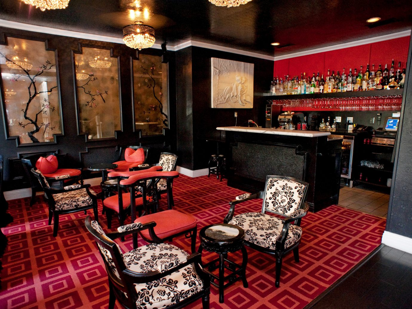 Hotels indoor floor red room restaurant Bar interior design area furniture several