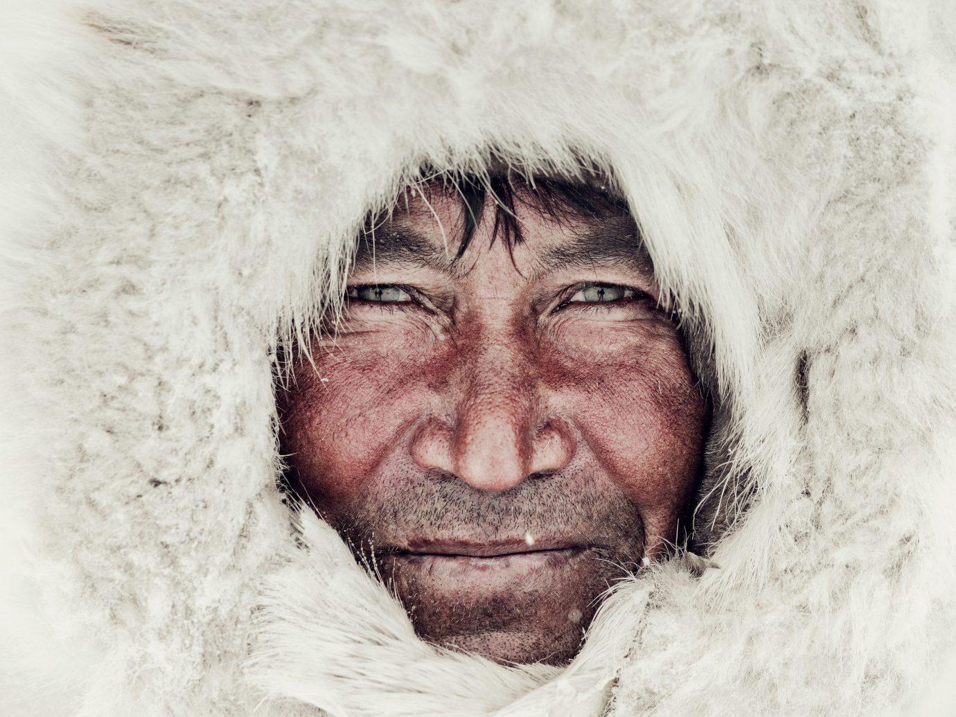 Arts + Culture man face white clothing portrait Winter male close up head facial hair snow drawing sketch hair fur close