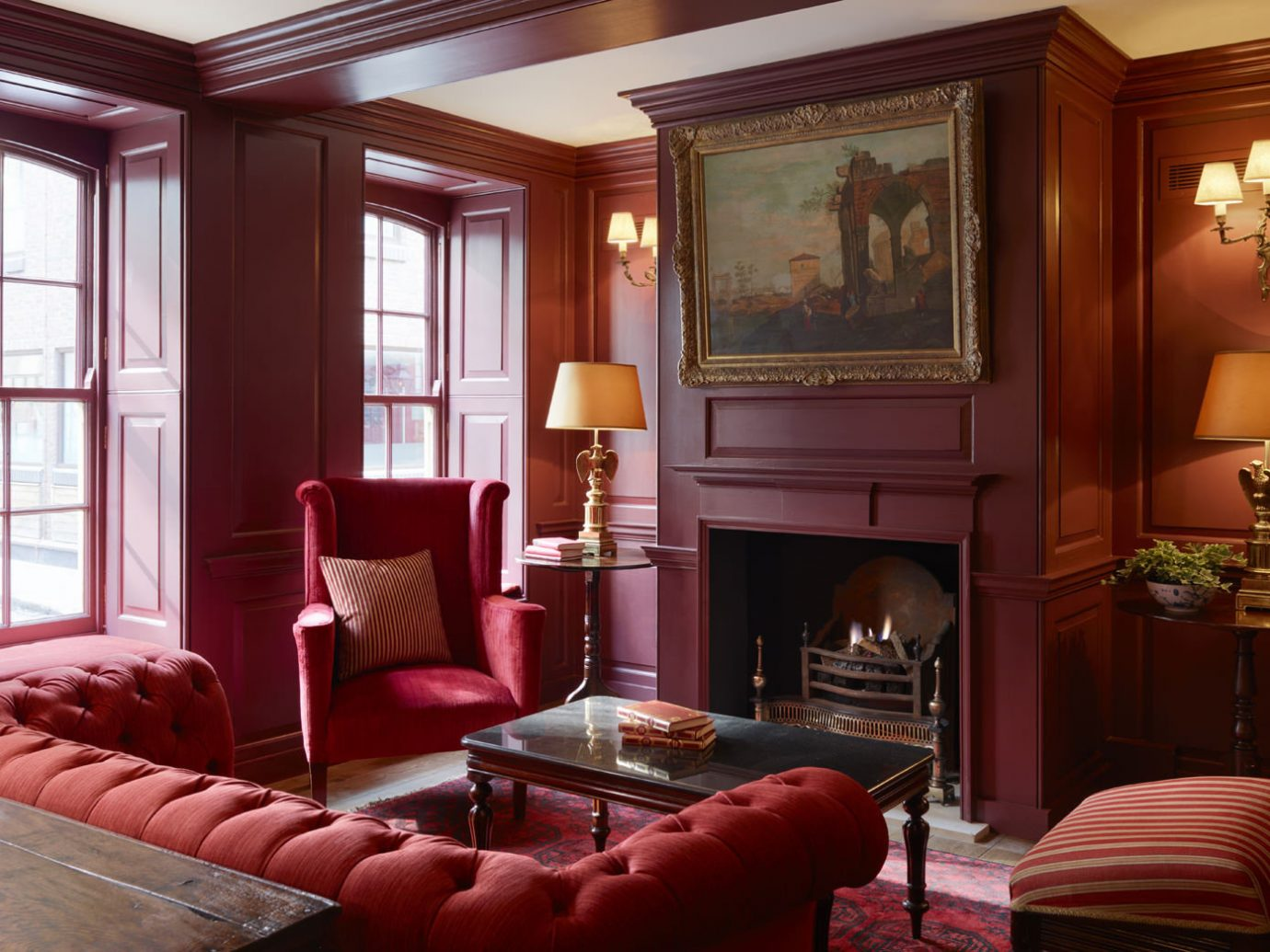 Boutique Hotels Hotels indoor room window Living sofa floor wall red property living room interior design furniture home estate Suite decorated mansion cottage dining room area leather flat