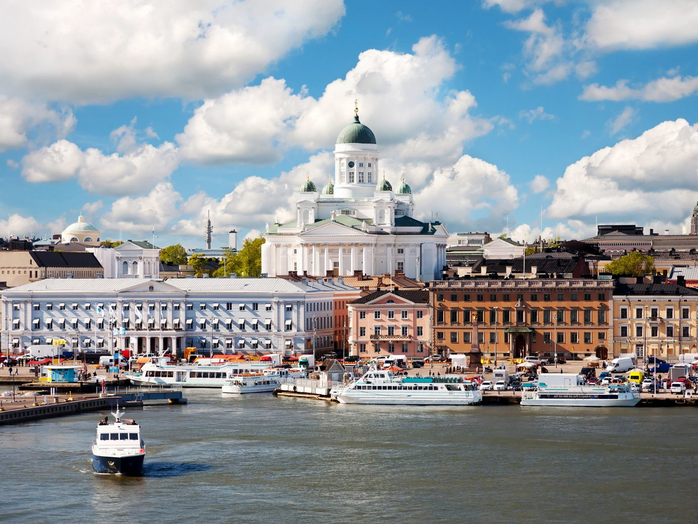 Finland Trip Ideas sky outdoor scene Boat Harbor water geographical feature River Town landmark City cityscape human settlement vacation tourism vehicle waterway Sea town square palace travel passenger ship docked Canal several