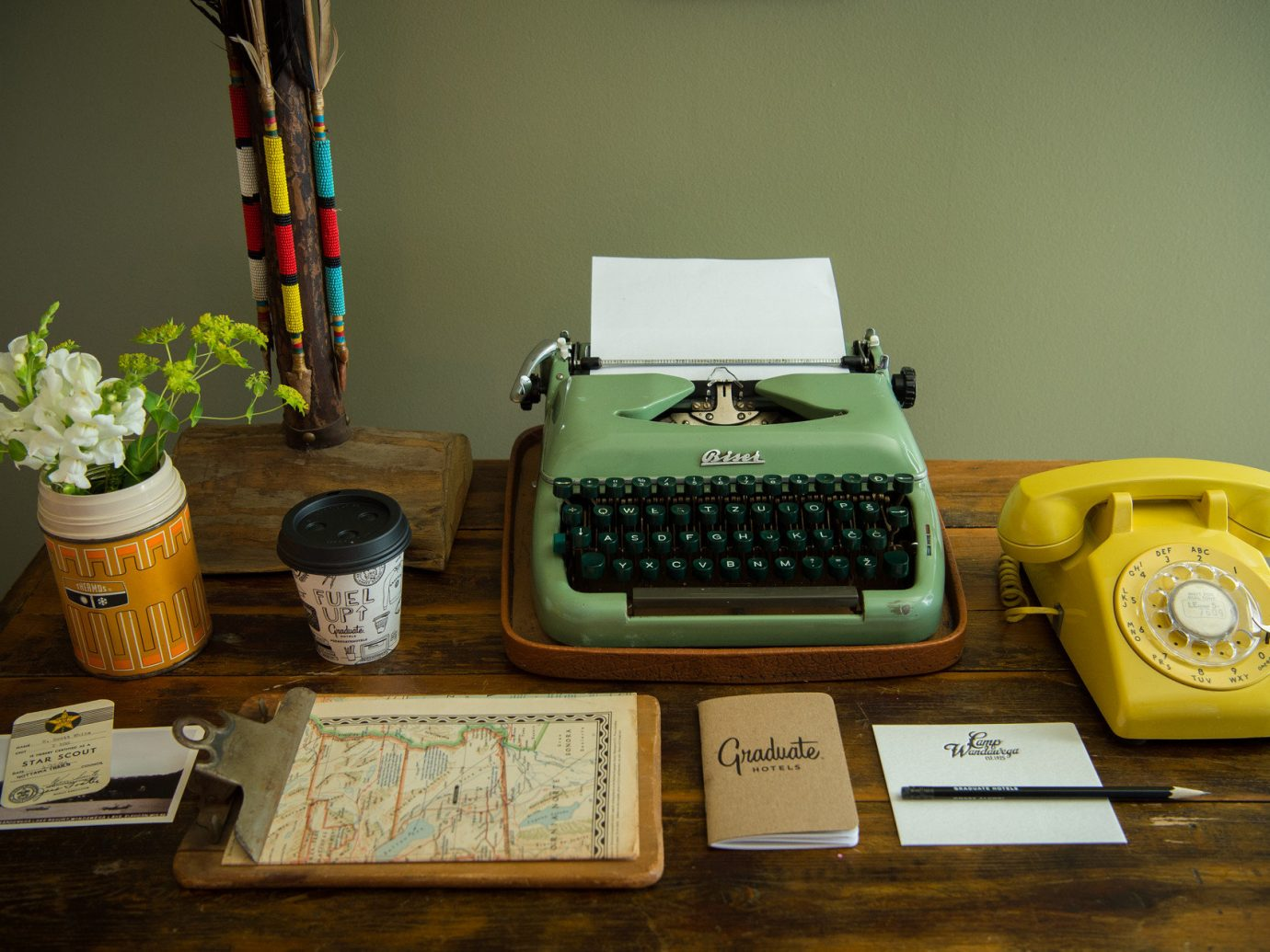artistic artsy Boutique charming cozy decor desk detail Hip homey interior trendy Trip Ideas color indoor green yellow art Design personal computer hardware cluttered