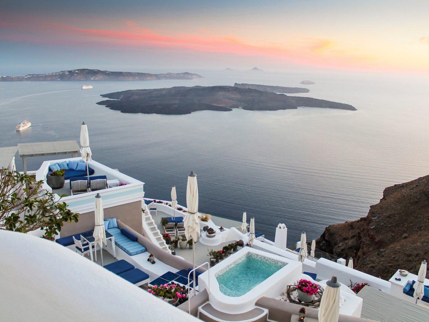 Greece Hotels Santorini sky water outdoor Sea coastal and oceanic landforms Nature Ocean vacation tourism Coast bay horizon