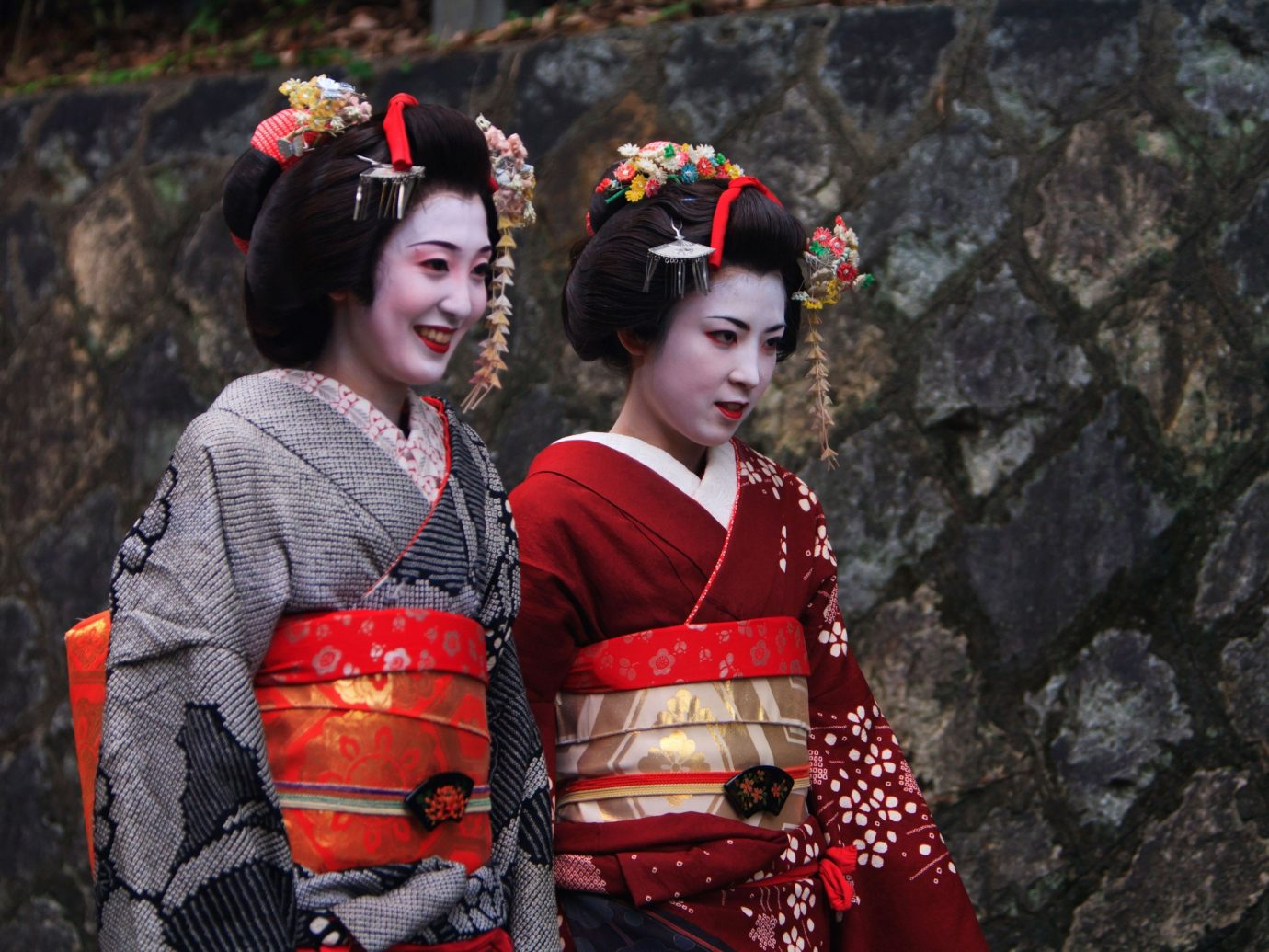 Trip Ideas person outdoor woman clothing red costume geisha tradition stone
