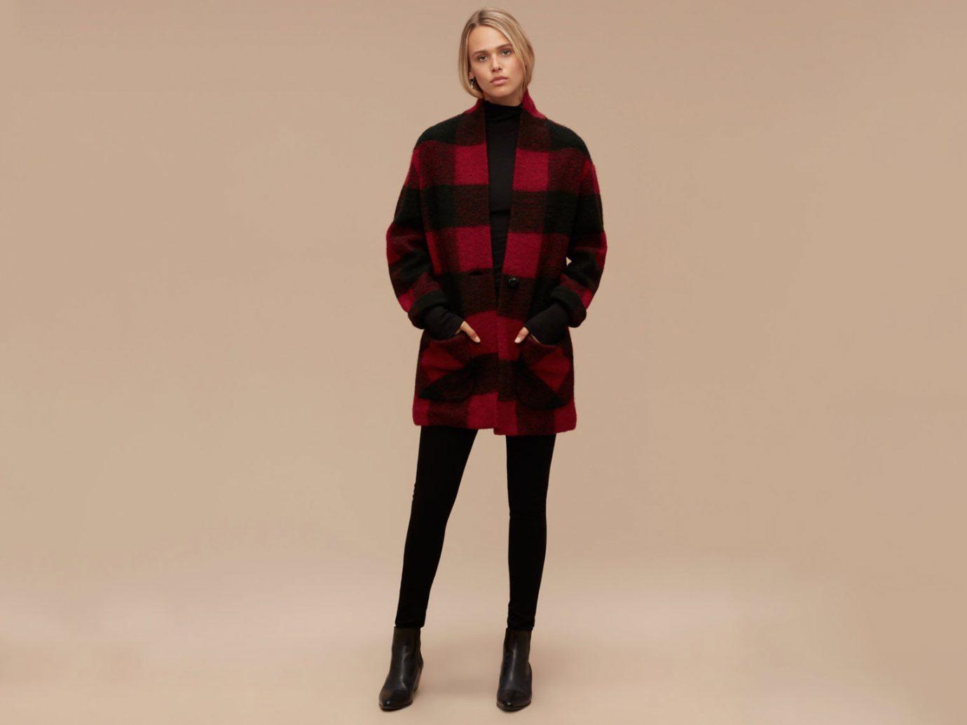 Style + Design clothing red standing pattern tartan sleeve Design fashion outerwear dress textile photo shoot wool posing