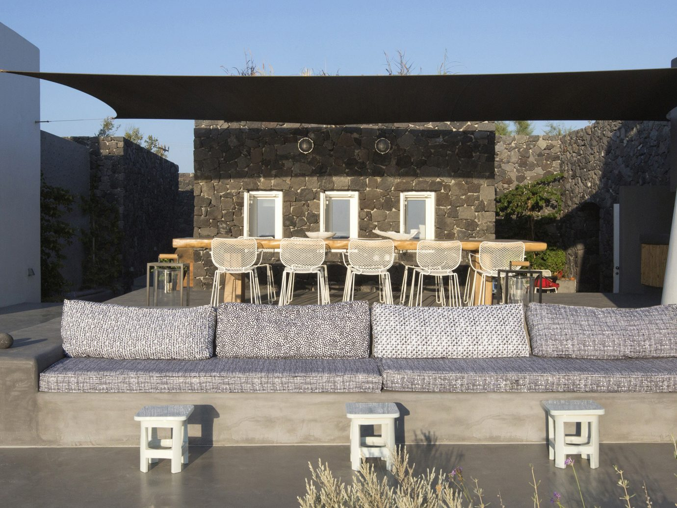Greece Hotels Santorini sky outdoor property Architecture outdoor structure house Patio facade cement