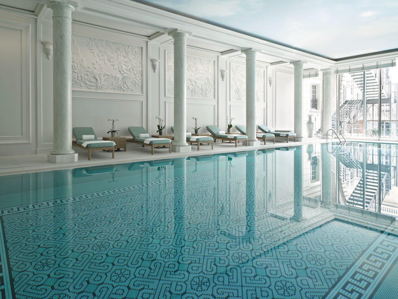 Elegant Fitness France Hotels Luxury Paris Pool Romance Romantic Wellness indoor room swimming pool property building floor estate mansion flooring interior design condominium Design blue