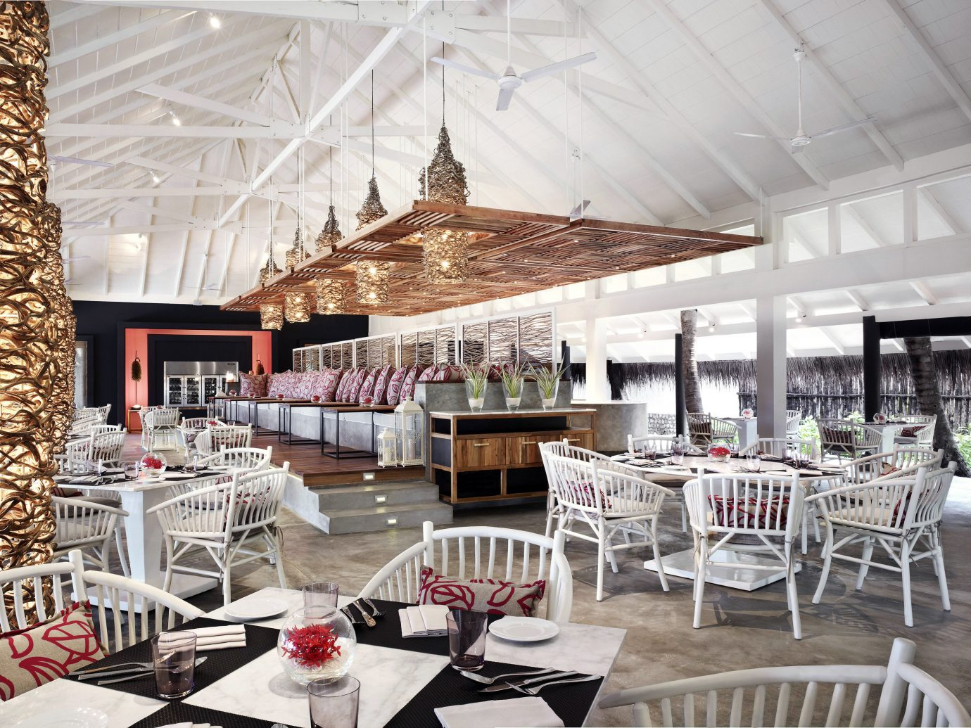 Beachfront Dining Drink Eat Family Hotels Resort table chair indoor ceiling meal room restaurant function hall estate interior design banquet wedding reception ballroom area furniture