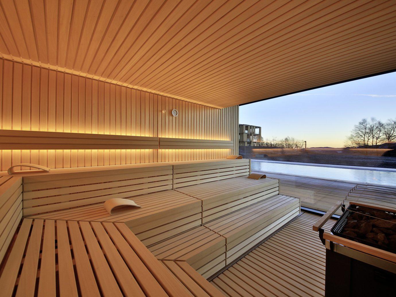 Trip Ideas building swimming pool ceiling room daylighting wood interior design Deck