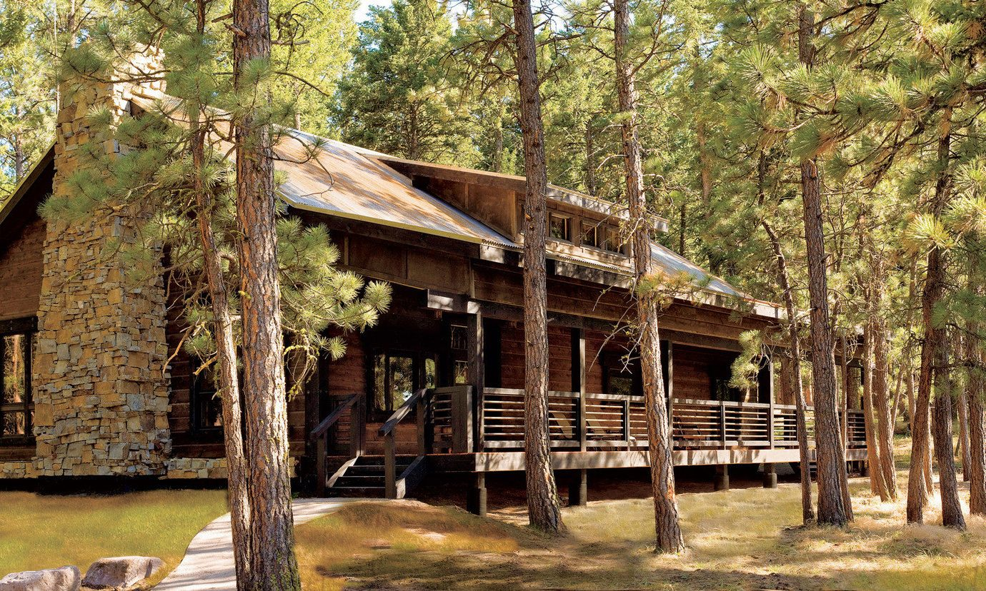 Glamping Hotels Montana Outdoors + Adventure Trip Ideas tree outdoor grass habitat wilderness natural environment hut log cabin Forest estate Jungle cottage park area shack outdoor structure wood house wooded
