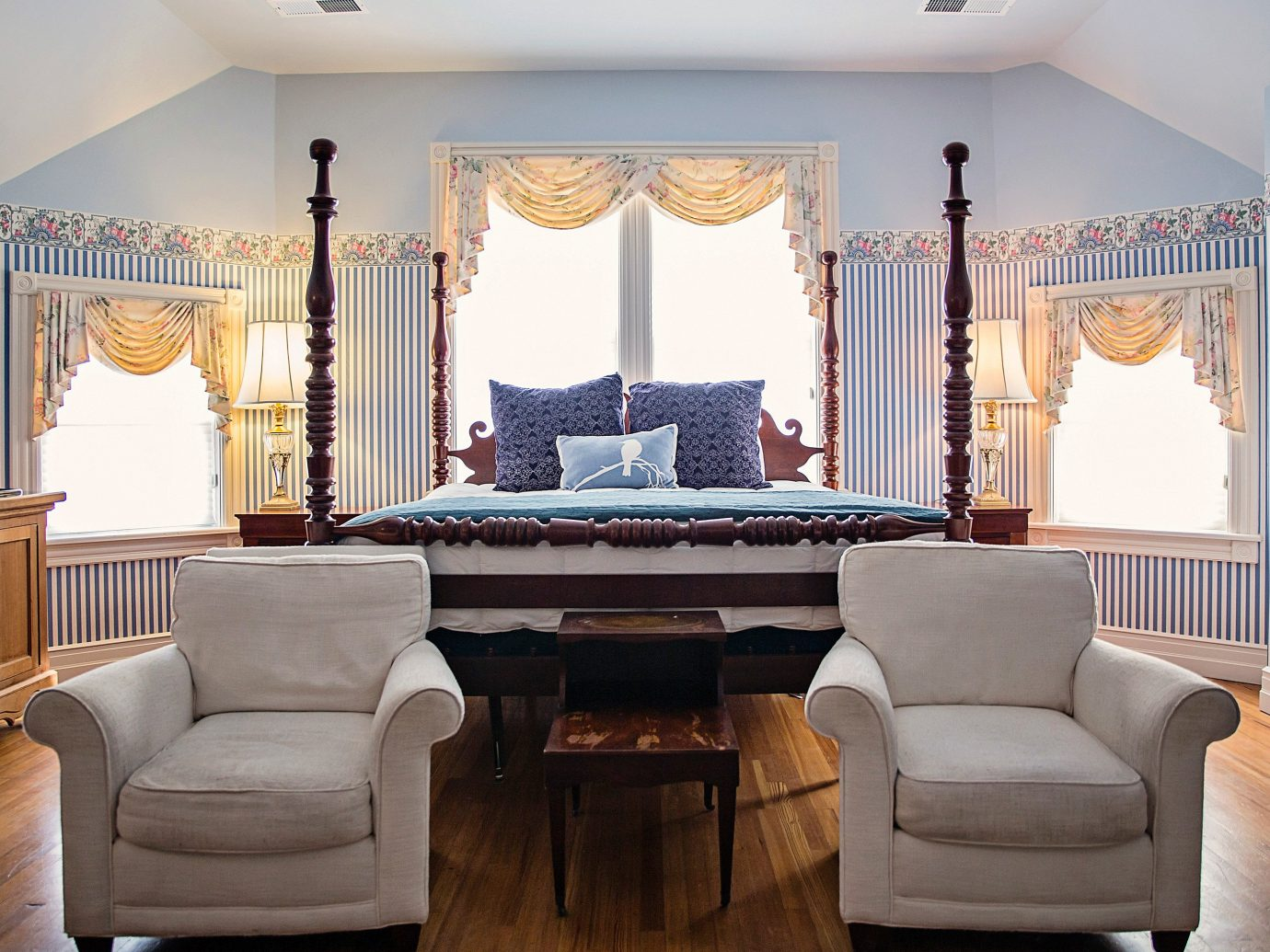 Bedroom Country Inn Living Trip Ideas floor indoor room wall living room property estate home interior design dining room furniture Suite real estate mansion window curtain Design window covering window treatment decorated several