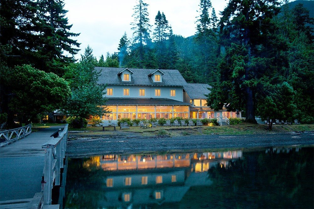 Mountains + Skiing Trip Ideas tree outdoor sky house estate River home reflection waterway cottage shrine Garden Forest