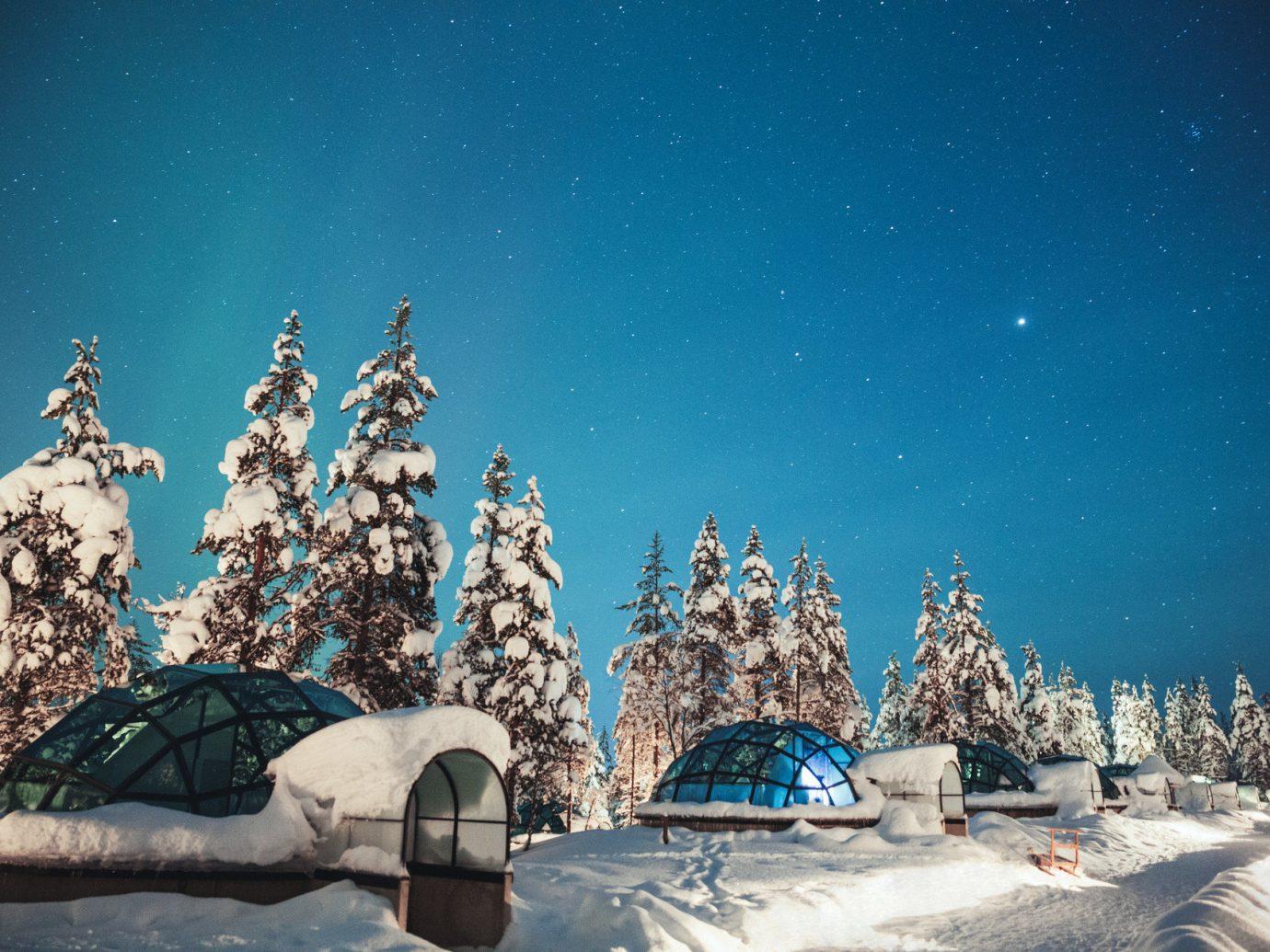 europe glass igloo glass igloos igloo igloos isolation night Outdoors remote snow Trip Ideas Winter outdoor ice