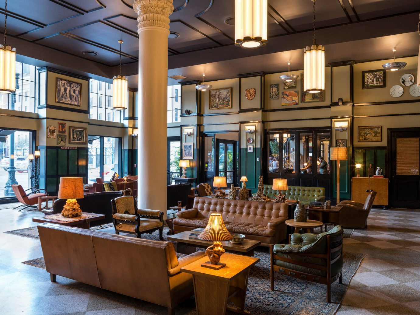 Hotels indoor Lobby room estate Bar restaurant interior design café furniture