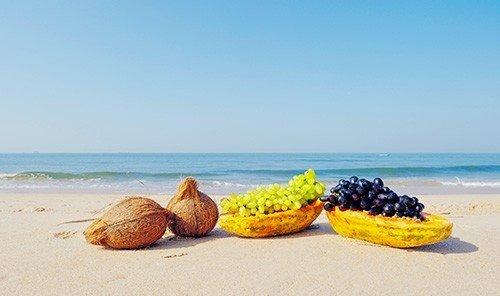 Food + Drink sky outdoor shore Beach Nature Sea sand produce food coconut
