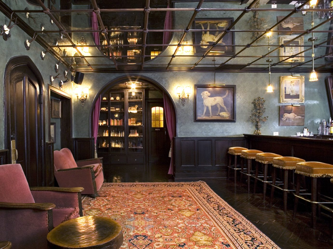 Offbeat indoor floor ceiling Lobby restaurant interior design Bar estate area several dining room