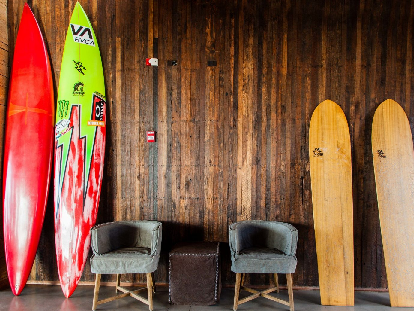 surfing wooden boarding furniture wood table board row lined chair interior design
