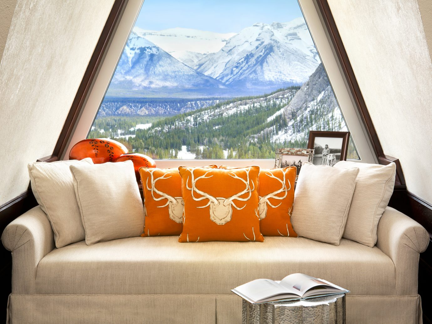 Health + Wellness Hotels Living Modern Mountains Resort Scenic views Spa Retreats Trip Ideas sofa room living room property house furniture home seat interior design estate Suite window cottage apartment couch orange overlooking